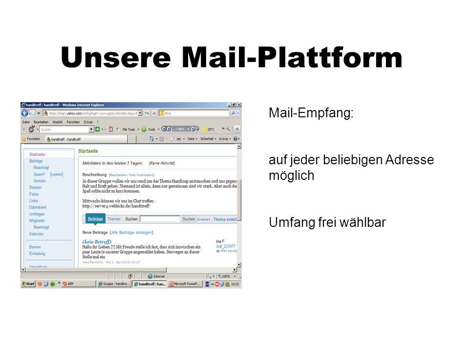 Mail-Plattform - Zusatzfunktionen Kalender zum Eintragen interessanter Termine (Geburtstage der Mitglieder usw.) Fotoalben