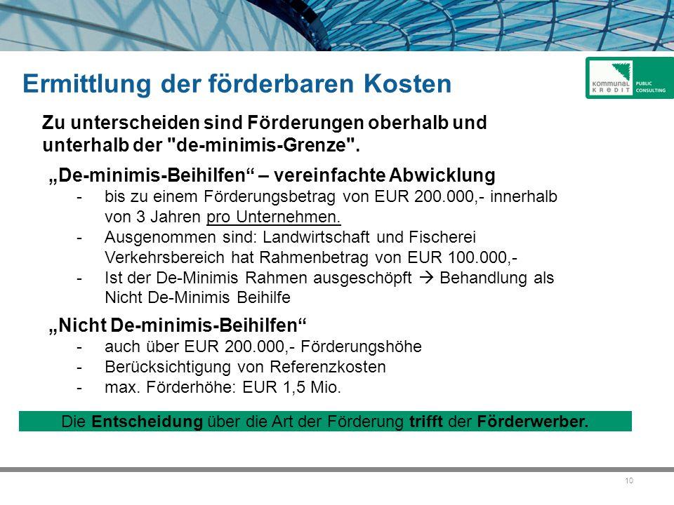 """10 """"De-minimis-Beihilfen"""" – vereinfachte Abwicklung -bis zu einem Förderungsbetrag von EUR 200.000,- innerhalb von 3 Jahren pro Unternehmen. -Ausgenom"""