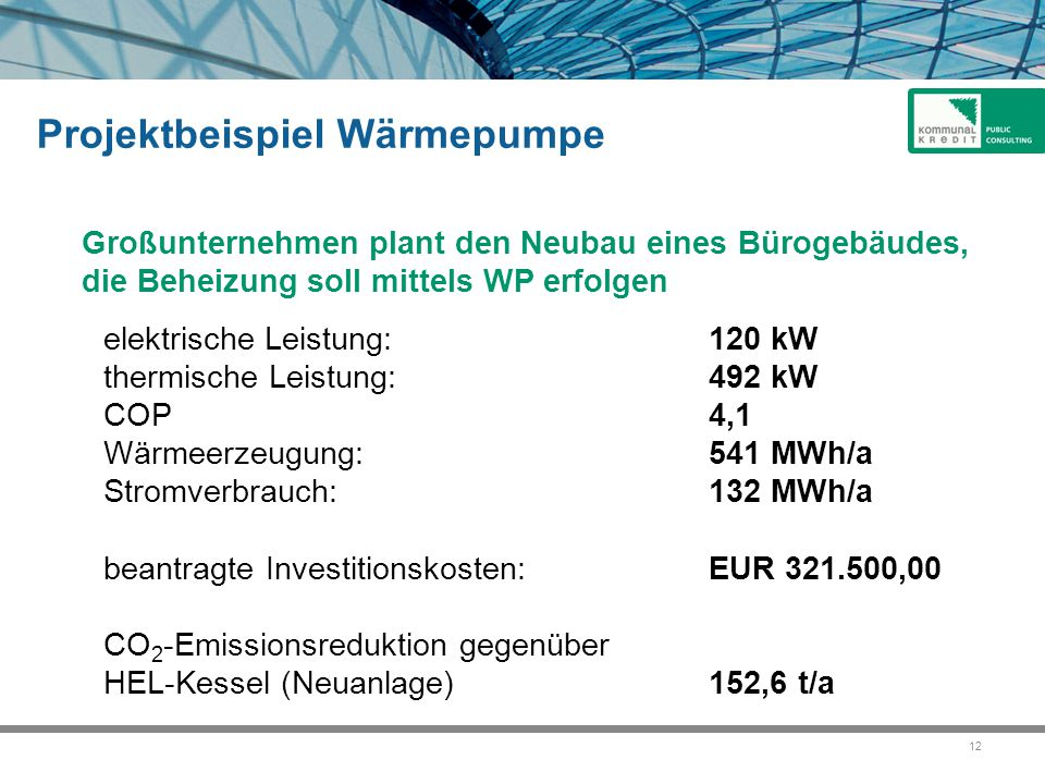 12 Projektbeispiel Wärmepumpe Großunternehmen plant den Neubau eines Bürogebäudes, die Beheizung soll mittels WP erfolgen elektrische Leistung: 120 kW thermische Leistung: 492 kW COP 4,1 Wärmeerzeugung:541 MWh/a Stromverbrauch:132 MWh/a beantragte Investitionskosten:EUR 321.500,00 CO 2 -Emissionsreduktion gegenüber HEL-Kessel (Neuanlage)152,6 t/a
