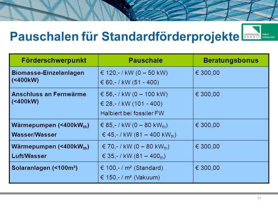 21 Pauschalen für Standardförderprojekte FörderschwerpunktPauschaleBeratungsbonus Biomasse-Einzelanlagen (<400kW) € 120,- / kW (0 – 50 kW) € 60,- / kW (51 - 400) € 300,00 Anschluss an Fernwärme (<400kW) € 56,- / kW (0 – 100 kW) € 28,- / kW (101 - 400) Halbiert bei fossiler FW € 300,00 Wärmepumpen (<400kW th ) Wasser/Wasser € 85,- / kW (0 – 80 kW th ) € 45,- / kW (81 – 400 kW th ) € 300,00 Wärmepumpen (<400kW th ) Luft/Wasser € 70,- / kW (0 – 80 kW th ) € 35,- / kW (81 – 400 th ) € 300,00 Solaranlagen (<100m²)€ 100,- / m² (Standard) € 150,- / m² (Vakuum) € 300,00