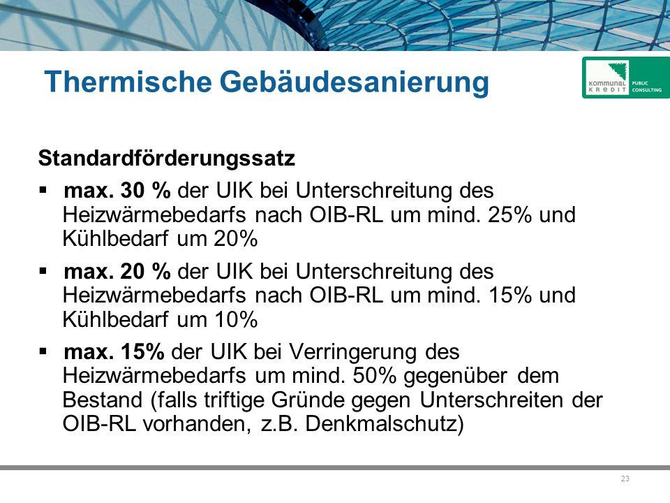 23 Thermische Gebäudesanierung Standardförderungssatz  max. 30 % der UIK bei Unterschreitung des Heizwärmebedarfs nach OIB-RL um mind. 25% und Kühlbe