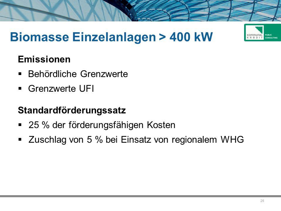 25 Biomasse Einzelanlagen > 400 kW Emissionen  Behördliche Grenzwerte  Grenzwerte UFI Standardförderungssatz  25 % der förderungsfähigen Kosten  Zuschlag von 5 % bei Einsatz von regionalem WHG