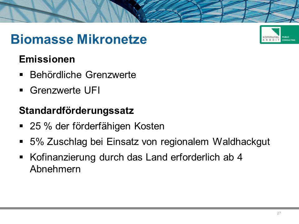 27 Biomasse Mikronetze Emissionen  Behördliche Grenzwerte  Grenzwerte UFI Standardförderungssatz  25 % der förderfähigen Kosten  5% Zuschlag bei E