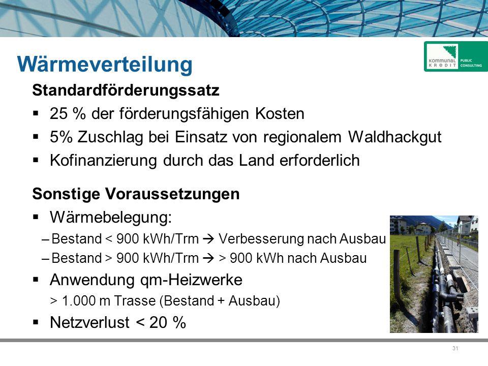 31 Wärmeverteilung Standardförderungssatz  25 % der förderungsfähigen Kosten  5% Zuschlag bei Einsatz von regionalem Waldhackgut  Kofinanzierung du