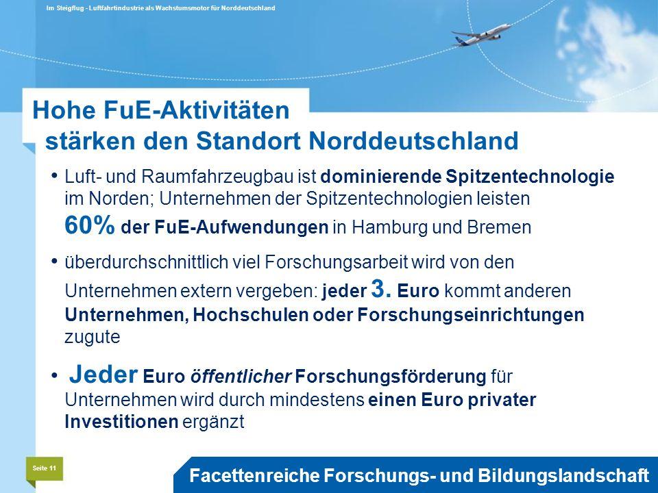 Luft- und Raumfahrzeugbau ist dominierende Spitzentechnologie im Norden; Unternehmen der Spitzentechnologien leisten 60% der FuE-Aufwendungen in Hamburg und Bremen überdurchschnittlich viel Forschungsarbeit wird von den Unternehmen extern vergeben: jeder 3.