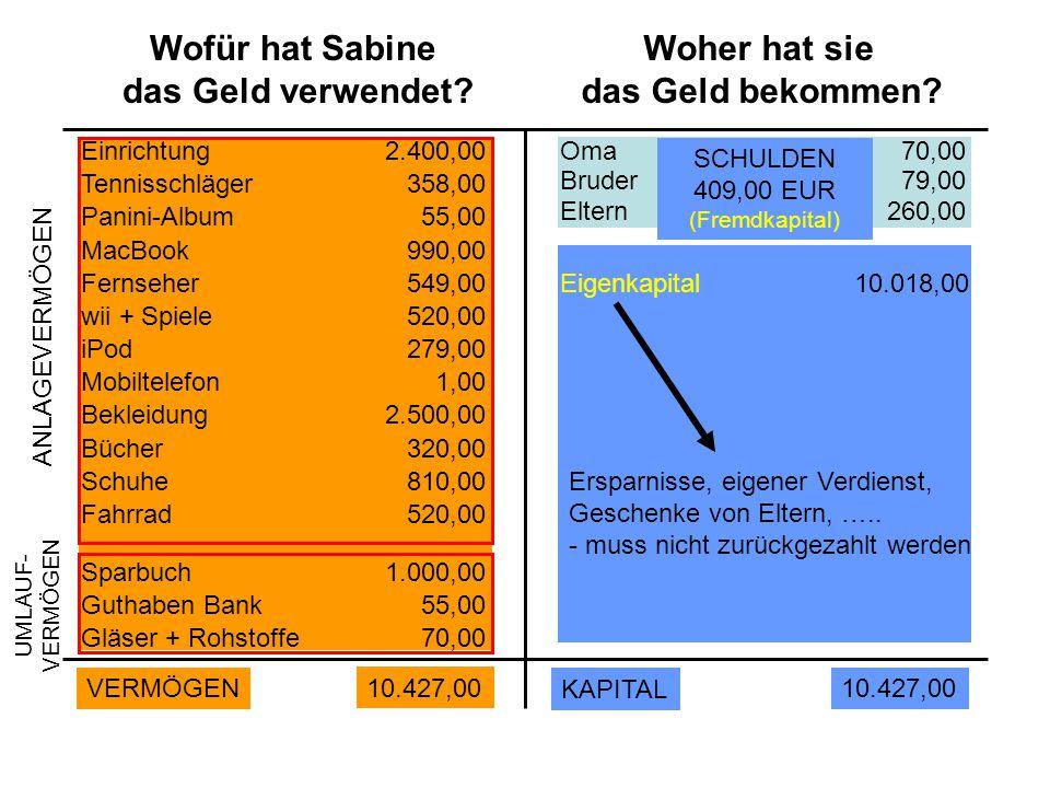 Wofür hat Sabine das Geld verwendet.Woher hat sie das Geld bekommen.