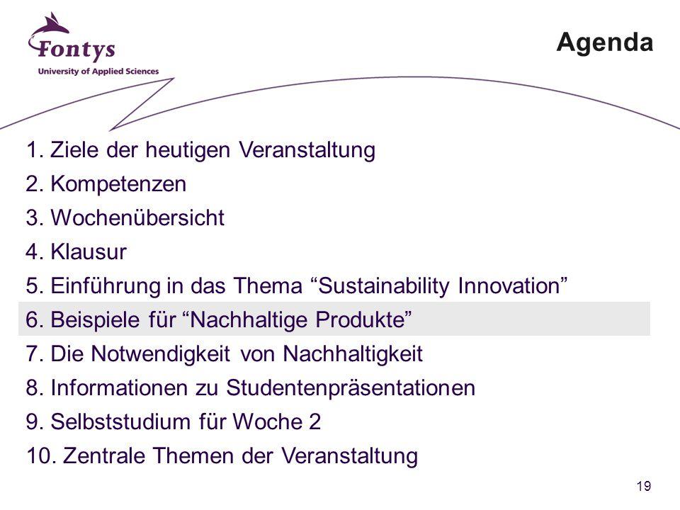 19 Agenda 1. Ziele der heutigen Veranstaltung 2. Kompetenzen 3.