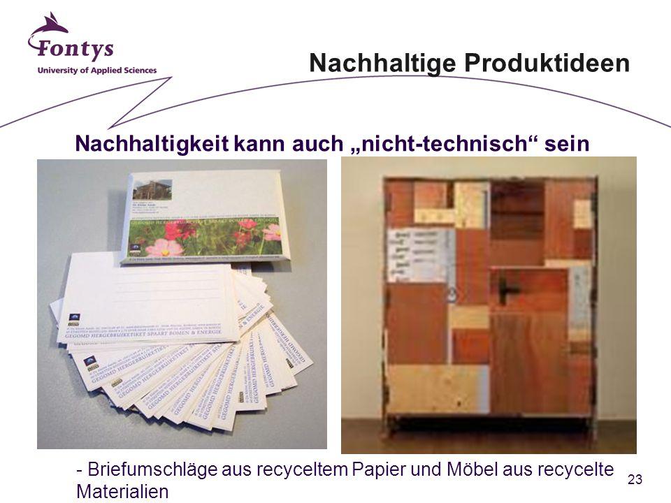 """23 Nachhaltigkeit kann auch """"nicht-technisch sein - Briefumschläge aus recyceltem Papier und Möbel aus recycelte Materialien Nachhaltige Produktideen"""