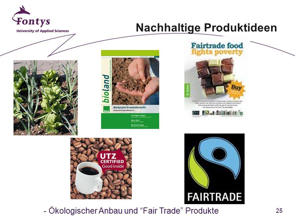 25 - Ökologischer Anbau und Fair Trade Produkte Nachhaltige Produktideen