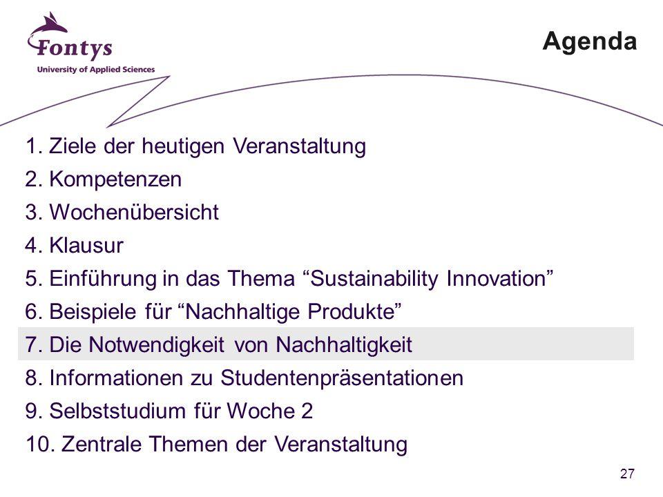 27 Agenda 1. Ziele der heutigen Veranstaltung 2. Kompetenzen 3.