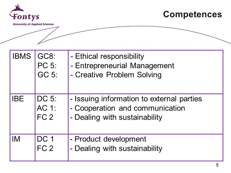 6 Competences IBMSGC8: PC 5: GC 5: - Ethical responsibility - Entrepreneurial Management - Creative Problem Solving IBEDC 5: AC 1: FC 2 - Issuing information to external parties - Cooperation and communication - Dealing with sustainability IMDC 1 FC 2 - Product development - Dealing with sustainability