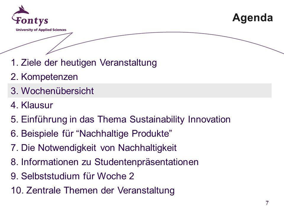 7 Agenda 1. Ziele der heutigen Veranstaltung 2. Kompetenzen 3.