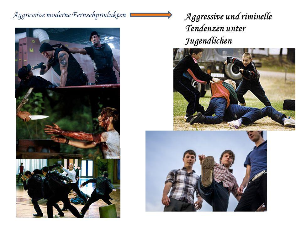Aggressive moderne Fernsehprodukten Aggressive und riminelle Tendenzen unter Jugendlichen