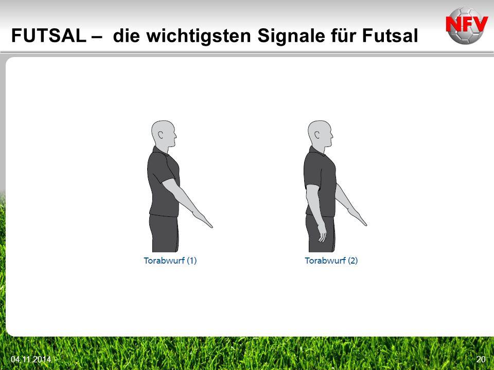 04.11.201420 FUTSAL – die wichtigsten Signale für Futsal