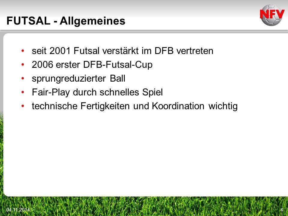 04.11.20144 FUTSAL - Allgemeines seit 2001 Futsal verstärkt im DFB vertreten 2006 erster DFB-Futsal-Cup sprungreduzierter Ball Fair-Play durch schnell