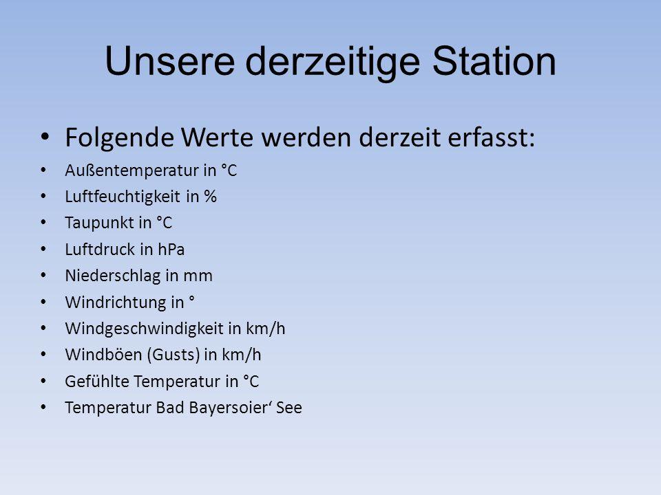Unsere derzeitige Station Folgende Werte werden derzeit erfasst: Außentemperatur in °C Luftfeuchtigkeit in % Taupunkt in °C Luftdruck in hPa Niedersch