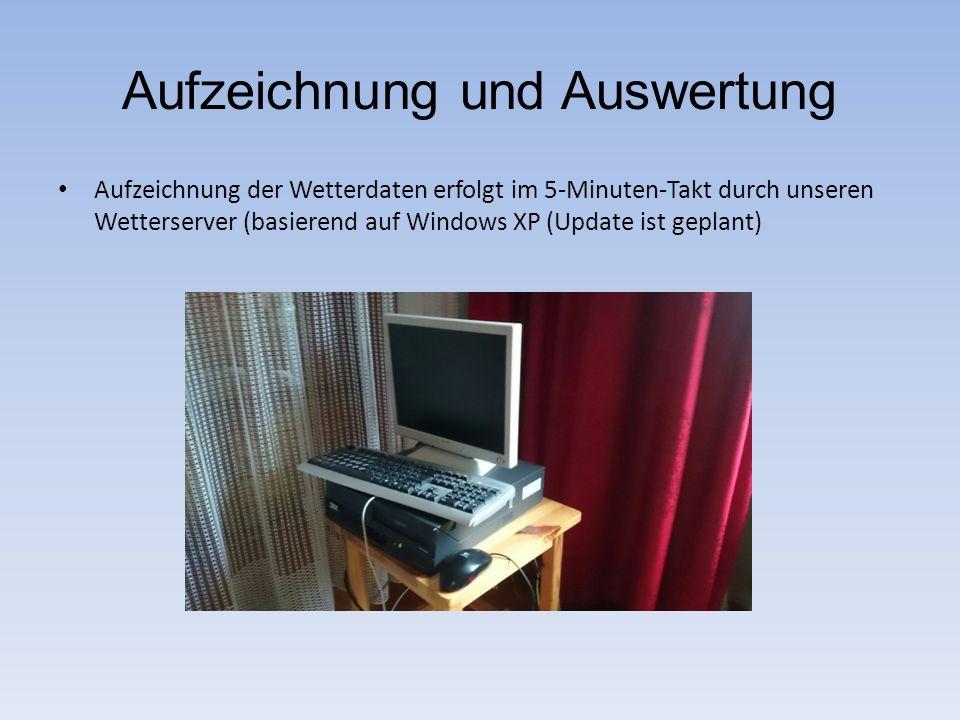Aufzeichnung und Auswertung Aufzeichnung der Wetterdaten erfolgt im 5-Minuten-Takt durch unseren Wetterserver (basierend auf Windows XP (Update ist ge