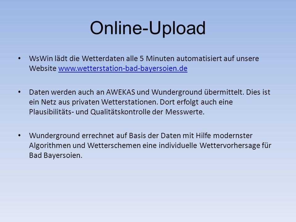 Online-Upload WsWin lädt die Wetterdaten alle 5 Minuten automatisiert auf unsere Website www.wetterstation-bad-bayersoien.dewww.wetterstation-bad-baye