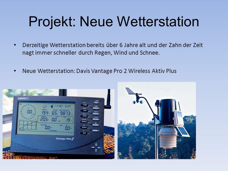 Projekt: Neue Wetterstation Derzeitige Wetterstation bereits über 6 Jahre alt und der Zahn der Zeit nagt immer schneller durch Regen, Wind und Schnee.