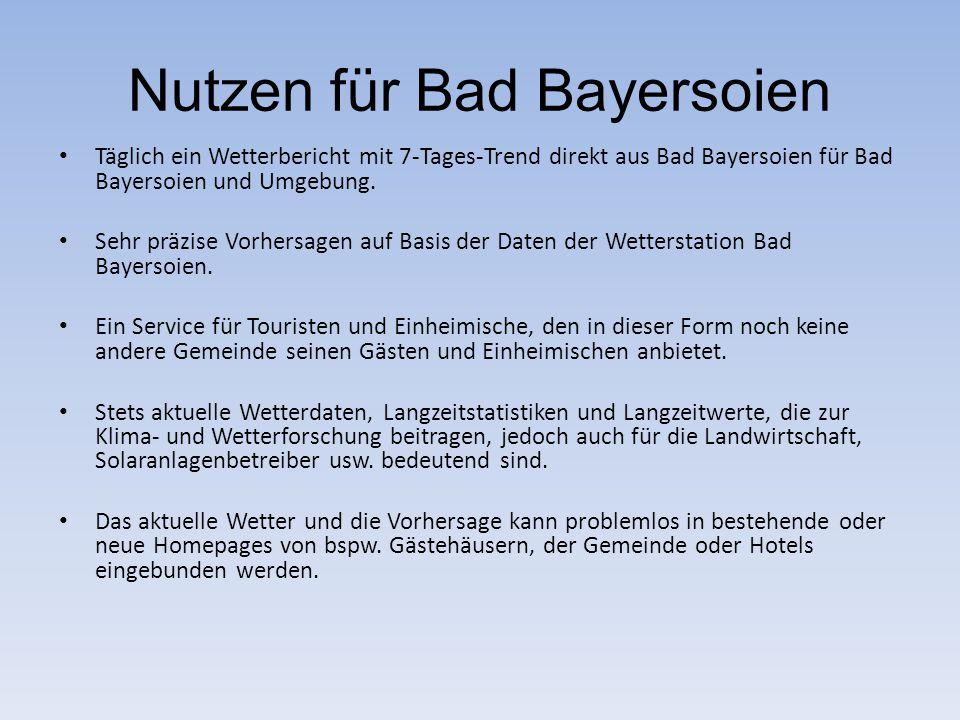 Nutzen für Bad Bayersoien Täglich ein Wetterbericht mit 7-Tages-Trend direkt aus Bad Bayersoien für Bad Bayersoien und Umgebung. Sehr präzise Vorhersa
