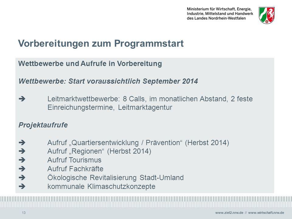 www.ziel2.nrw.de // www.wirtschaft.nrw.de Vorbereitungen zum Programmstart 13 Wettbewerbe und Aufrufe in Vorbereitung Wettbewerbe: Start voraussichtli