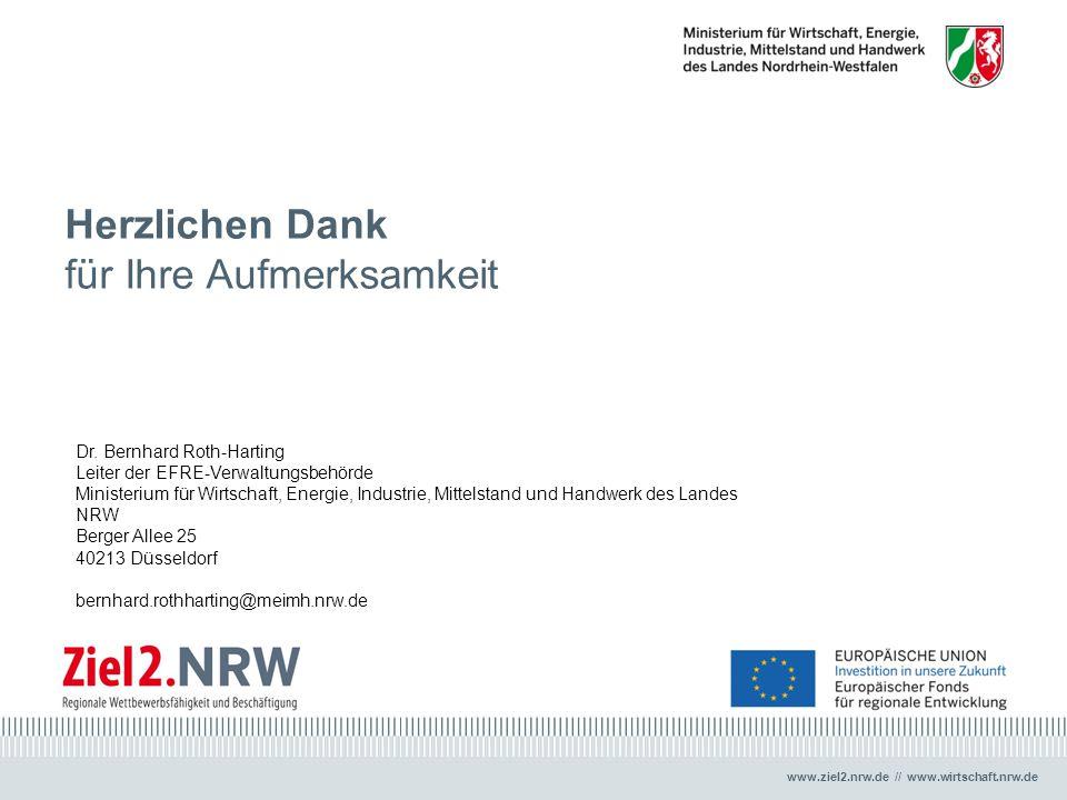 www.ziel2.nrw.de // www.wirtschaft.nrw.de Herzlichen Dank für Ihre Aufmerksamkeit Dr. Bernhard Roth-Harting Leiter der EFRE-Verwaltungsbehörde Ministe