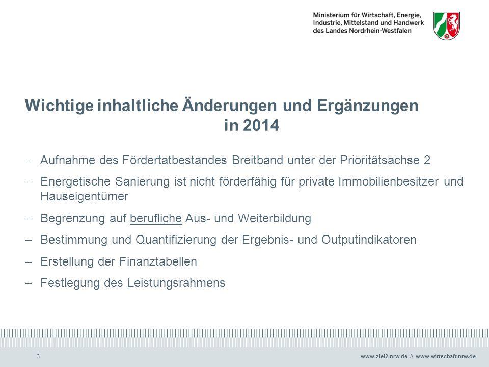 www.ziel2.nrw.de // www.wirtschaft.nrw.de3 Wichtige inhaltliche Änderungen und Ergänzungen in 2014  Aufnahme des Fördertatbestandes Breitband unter d