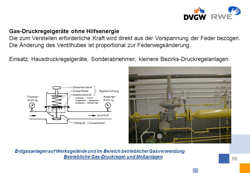 Erdgasanlagen auf Werksgelände und im Bereich betrieblicher Gasverwendung Betriebliche Gas-Druckregel- und Meßanlagen 10 Gas-Druckregelgeräte ohne Hil