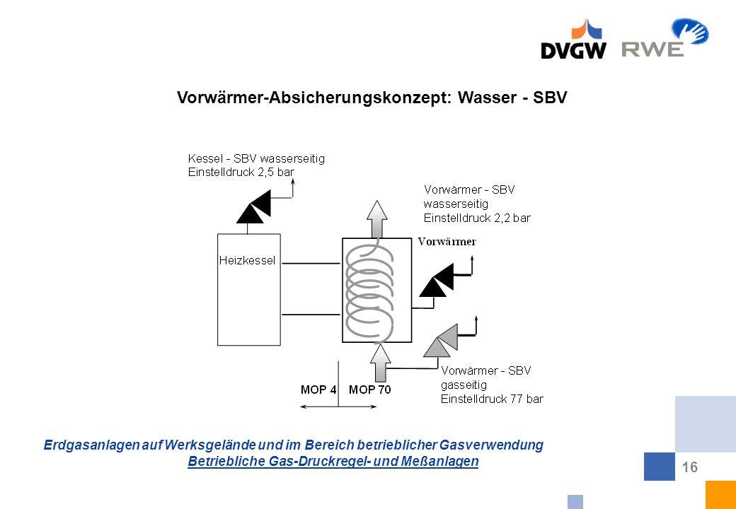 Erdgasanlagen auf Werksgelände und im Bereich betrieblicher Gasverwendung Betriebliche Gas-Druckregel- und Meßanlagen 16 Vorwärmer-Absicherungskonzept