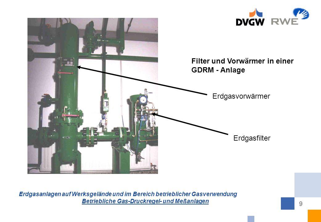 Erdgasanlagen auf Werksgelände und im Bereich betrieblicher Gasverwendung Betriebliche Gas-Druckregel- und Meßanlagen 9 Filter und Vorwärmer in einer