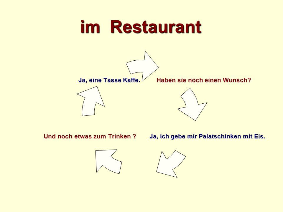 im Restaurant Herr Kellner, ich bezahle bitte.Herr Kellner, ich bezahle bitte.