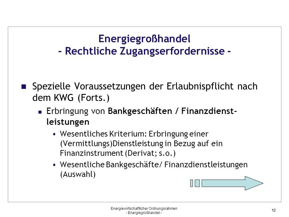 Energiewirtschaftlicher Ordnungsrahmen - Energiegroßhandel - 12 Energiegroßhandel - Rechtliche Zugangserfordernisse - Spezielle Voraussetzungen der Er