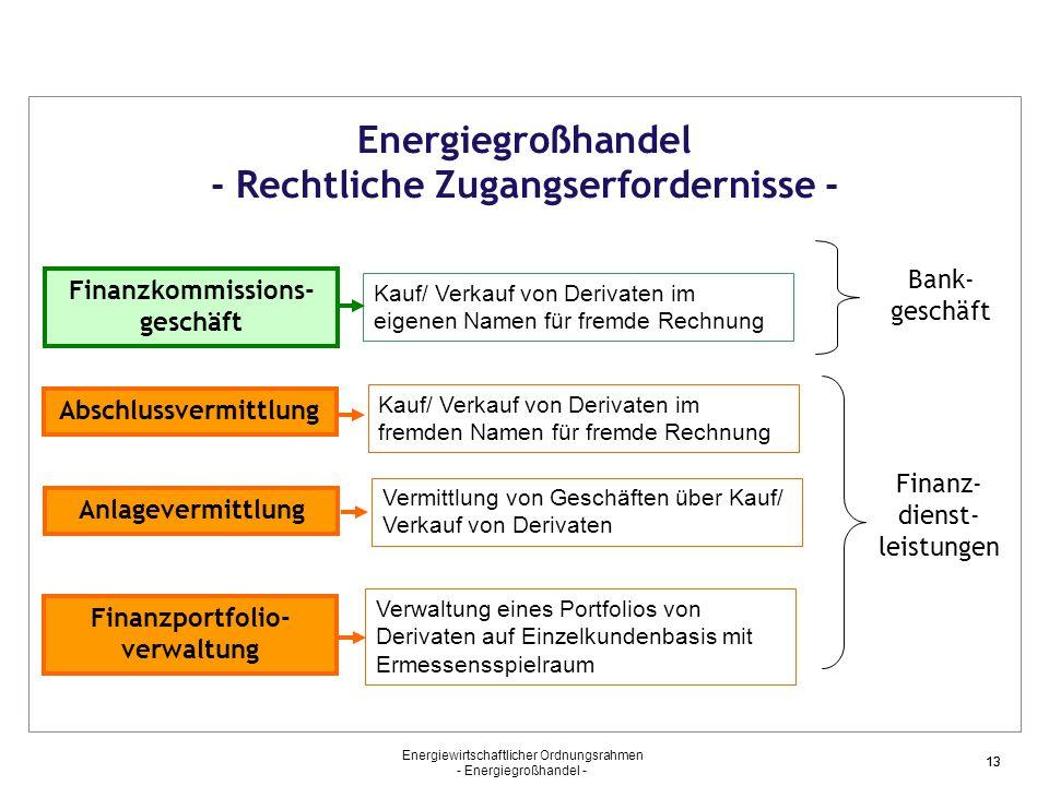Energiewirtschaftlicher Ordnungsrahmen - Energiegroßhandel - 13 Energiegroßhandel - Rechtliche Zugangserfordernisse - Finanzkommissions- geschäft Kauf