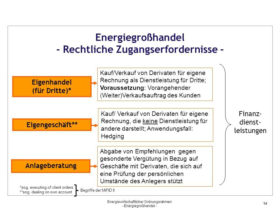 Energiewirtschaftlicher Ordnungsrahmen - Energiegroßhandel - 14 Energiegroßhandel - Rechtliche Zugangserfordernisse - *sog. executing of client orders