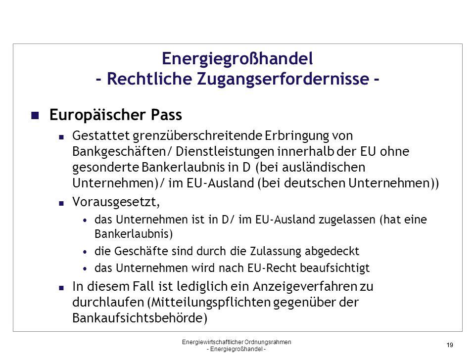 Energiewirtschaftlicher Ordnungsrahmen - Energiegroßhandel - 19 Energiegroßhandel - Rechtliche Zugangserfordernisse - Europäischer Pass Gestattet gren