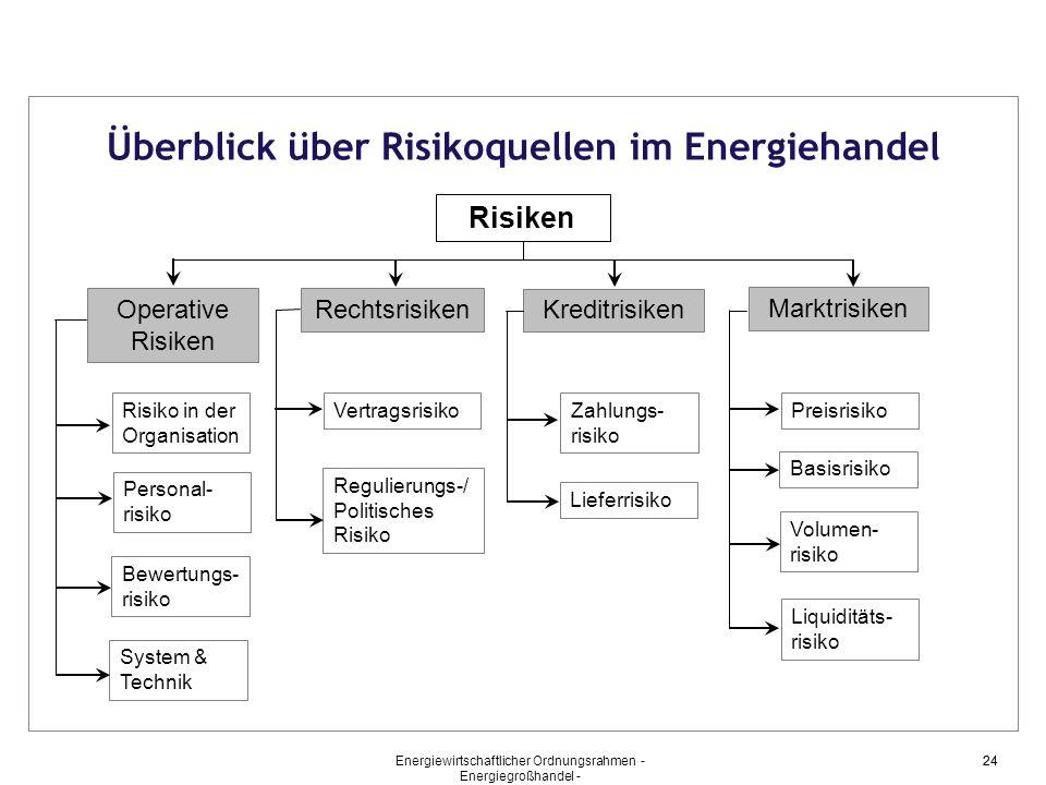 Überblick über Risikoquellen im Energiehandel Risiken Operative Risiken Rechtsrisiken Kreditrisiken Marktrisiken Risiko in der Organisation Personal-