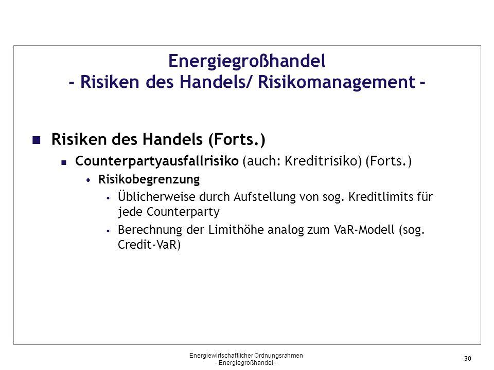Energiewirtschaftlicher Ordnungsrahmen - Energiegroßhandel - 30 Energiegroßhandel - Risiken des Handels/ Risikomanagement - Risiken des Handels (Forts