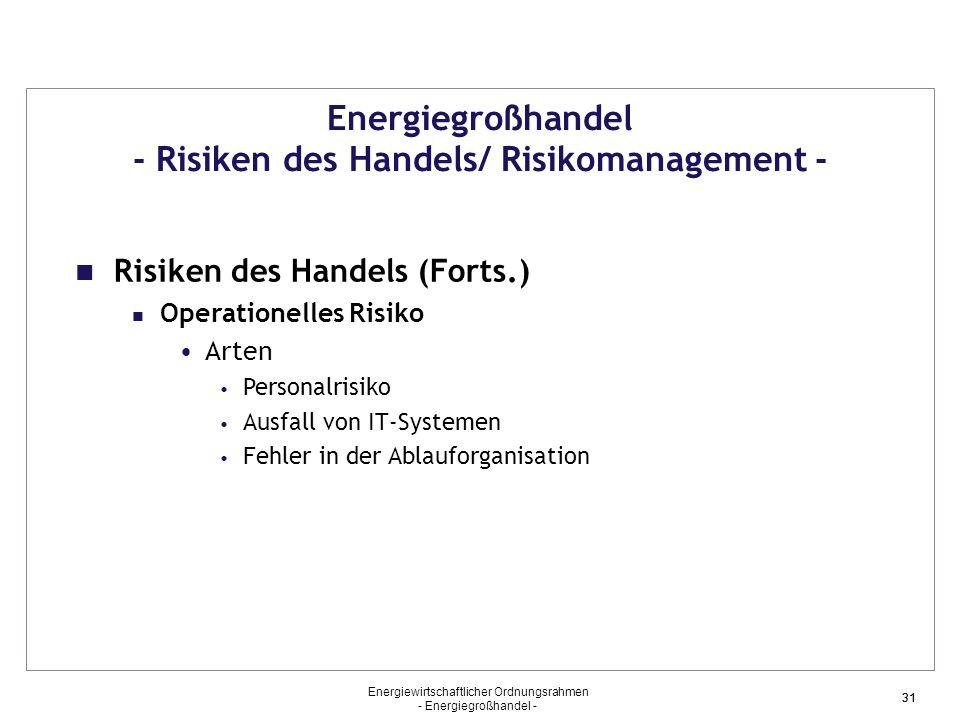 Energiewirtschaftlicher Ordnungsrahmen - Energiegroßhandel - 31 Energiegroßhandel - Risiken des Handels/ Risikomanagement - Risiken des Handels (Forts