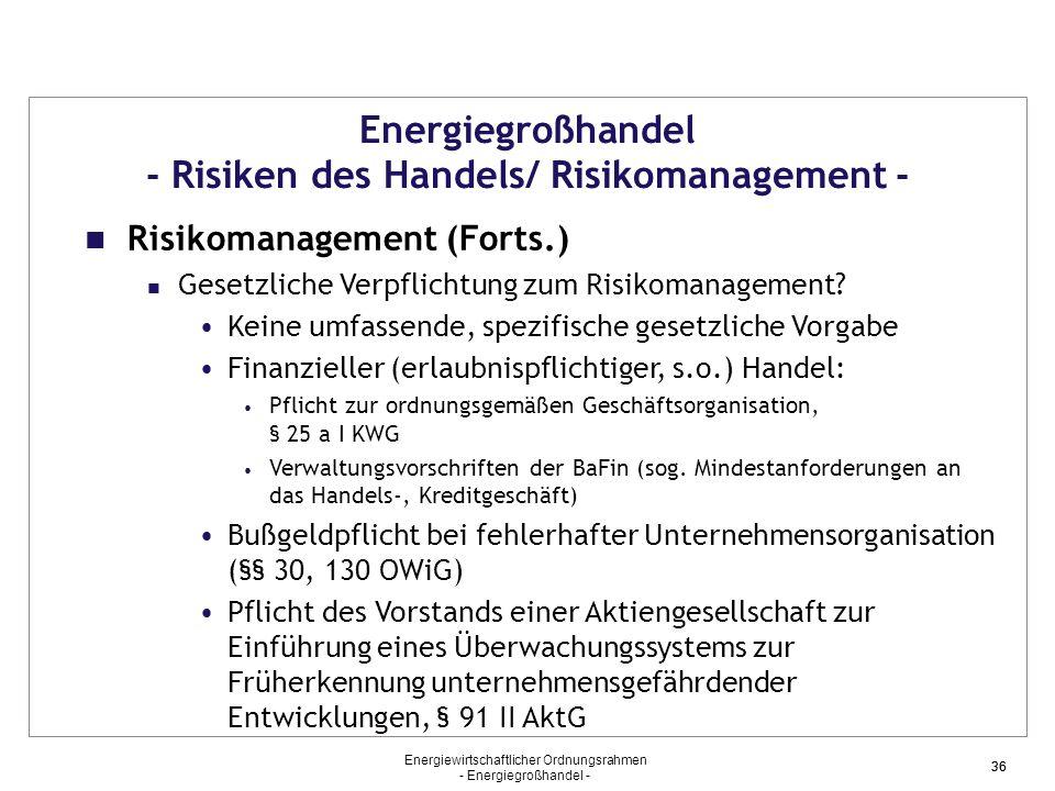 Energiewirtschaftlicher Ordnungsrahmen - Energiegroßhandel - 36 Energiegroßhandel - Risiken des Handels/ Risikomanagement - Risikomanagement (Forts.)