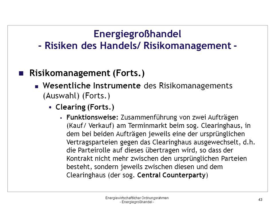 Energiewirtschaftlicher Ordnungsrahmen - Energiegroßhandel - 43 Energiegroßhandel - Risiken des Handels/ Risikomanagement - Risikomanagement (Forts.)