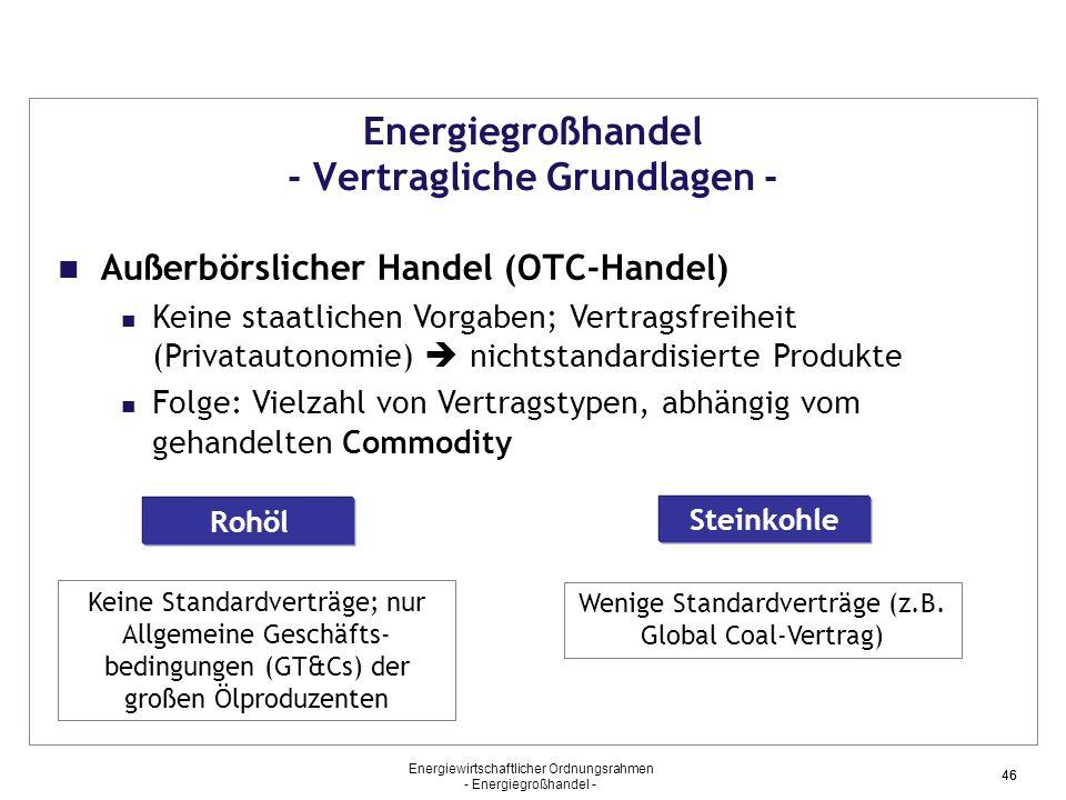 Energiewirtschaftlicher Ordnungsrahmen - Energiegroßhandel - 46 Energiegroßhandel - Vertragliche Grundlagen - Außerbörslicher Handel (OTC-Handel) Kein