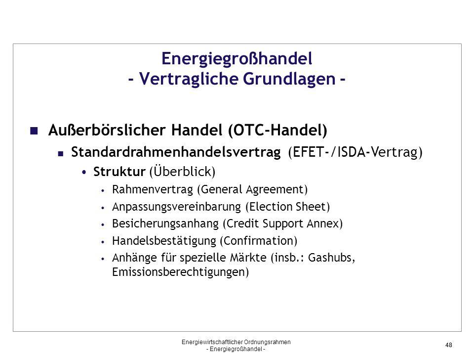 Energiewirtschaftlicher Ordnungsrahmen - Energiegroßhandel - 48 Energiegroßhandel - Vertragliche Grundlagen - Außerbörslicher Handel (OTC-Handel) Stan