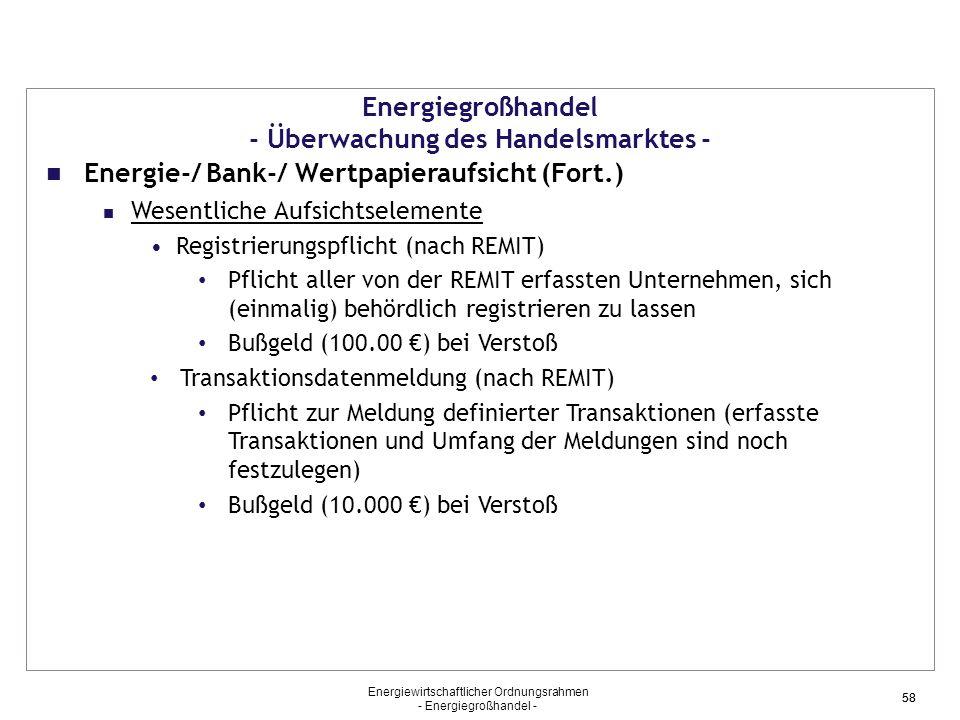 Energiewirtschaftlicher Ordnungsrahmen - Energiegroßhandel - 58 Energiegroßhandel - Überwachung des Handelsmarktes - Energie-/ Bank-/ Wertpapieraufsic
