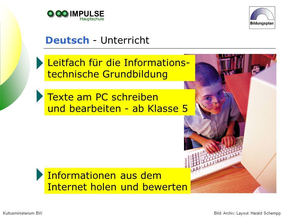 Deutsch - Unterricht Bild: Archiv; Layout: Harald SchemppKultusministerium BW Leitfach für die Informations- technische Grundbildung Texte am PC schre