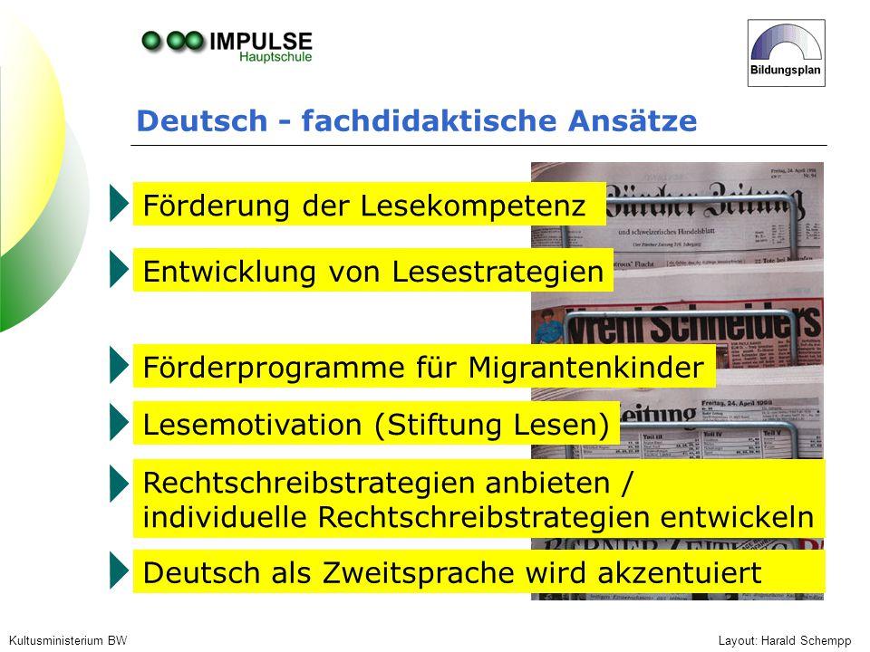 Deutsch - fachdidaktische Ansätze Layout: Harald SchemppKultusministerium BW Förderung der Lesekompetenz Entwicklung von Lesestrategien Lesemotivation