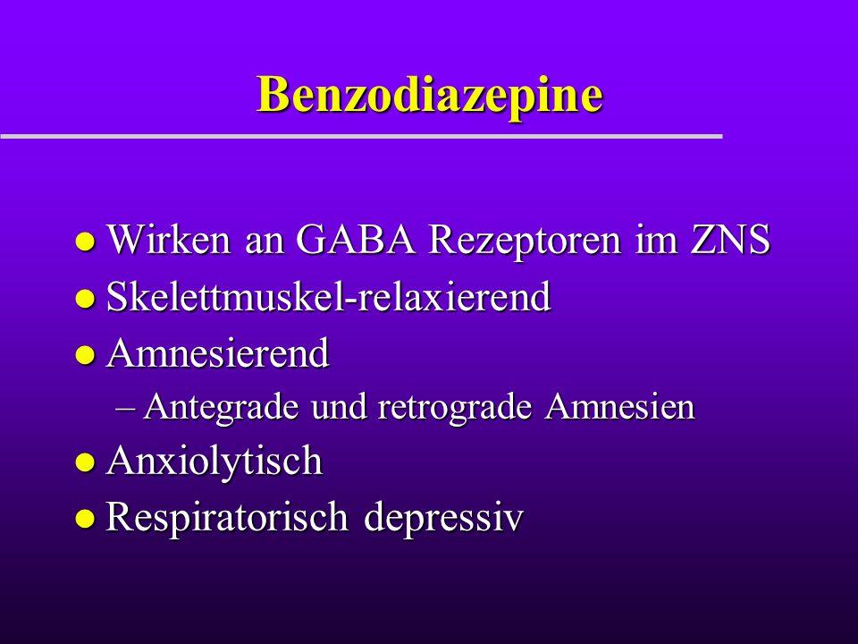 Benzodiazepine l Wirken an GABA Rezeptoren im ZNS l Skelettmuskel-relaxierend l Amnesierend –Antegrade und retrograde Amnesien l Anxiolytisch l Respir