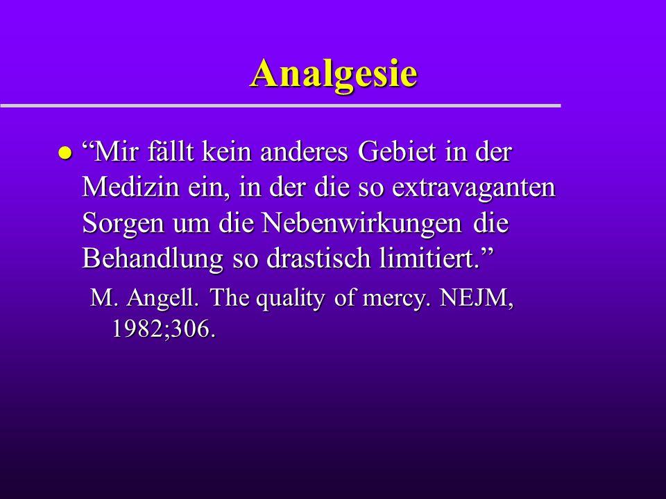 """Analgesie l """"Mir fällt kein anderes Gebiet in der Medizin ein, in der die so extravaganten Sorgen um die Nebenwirkungen die Behandlung so drastisch li"""