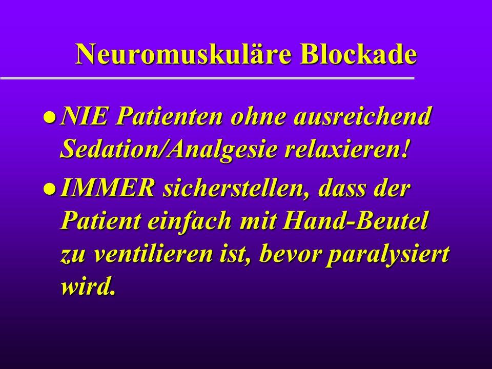 Neuromuskuläre Blockade l NIE Patienten ohne ausreichend Sedation/Analgesie relaxieren! l IMMER sicherstellen, dass der Patient einfach mit Hand-Beute