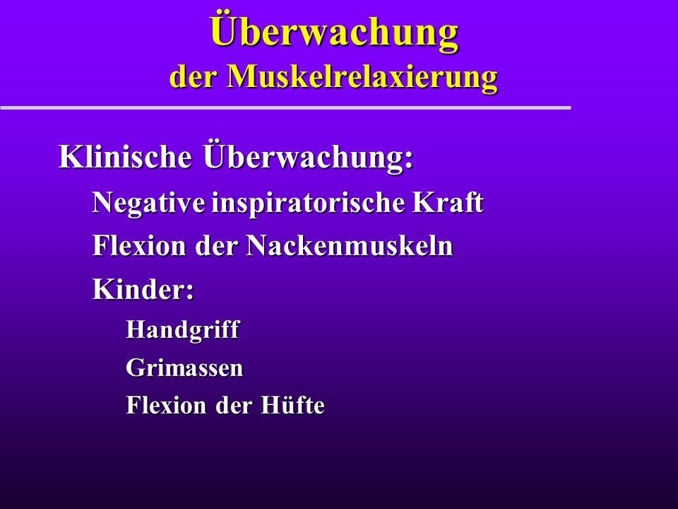 Überwachung der Muskelrelaxierung Klinische Überwachung: Negative inspiratorische Kraft Flexion der Nackenmuskeln Kinder:HandgriffGrimassen Flexion de