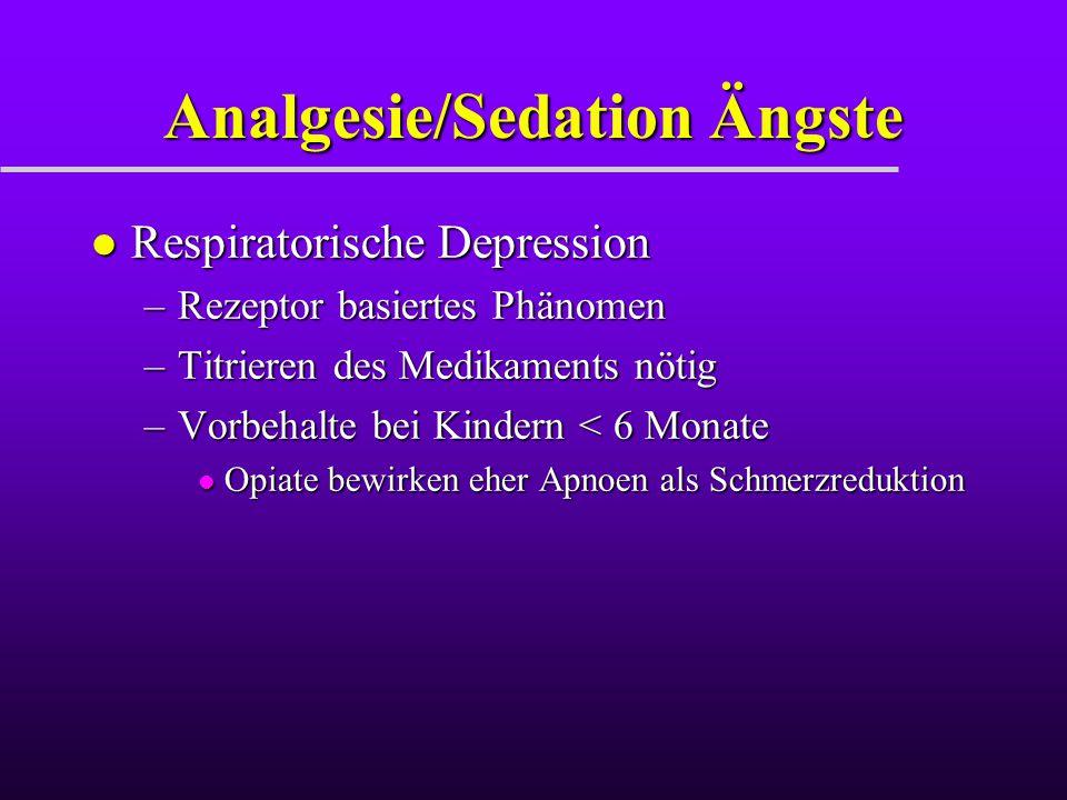 Analgesie/Sedation Ängste l Respiratorische Depression –Rezeptor basiertes Phänomen –Titrieren des Medikaments nötig –Vorbehalte bei Kindern < 6 Monat